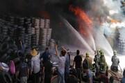 آتش سوزی گسترده انبار کالا در محدوده بازار تهران