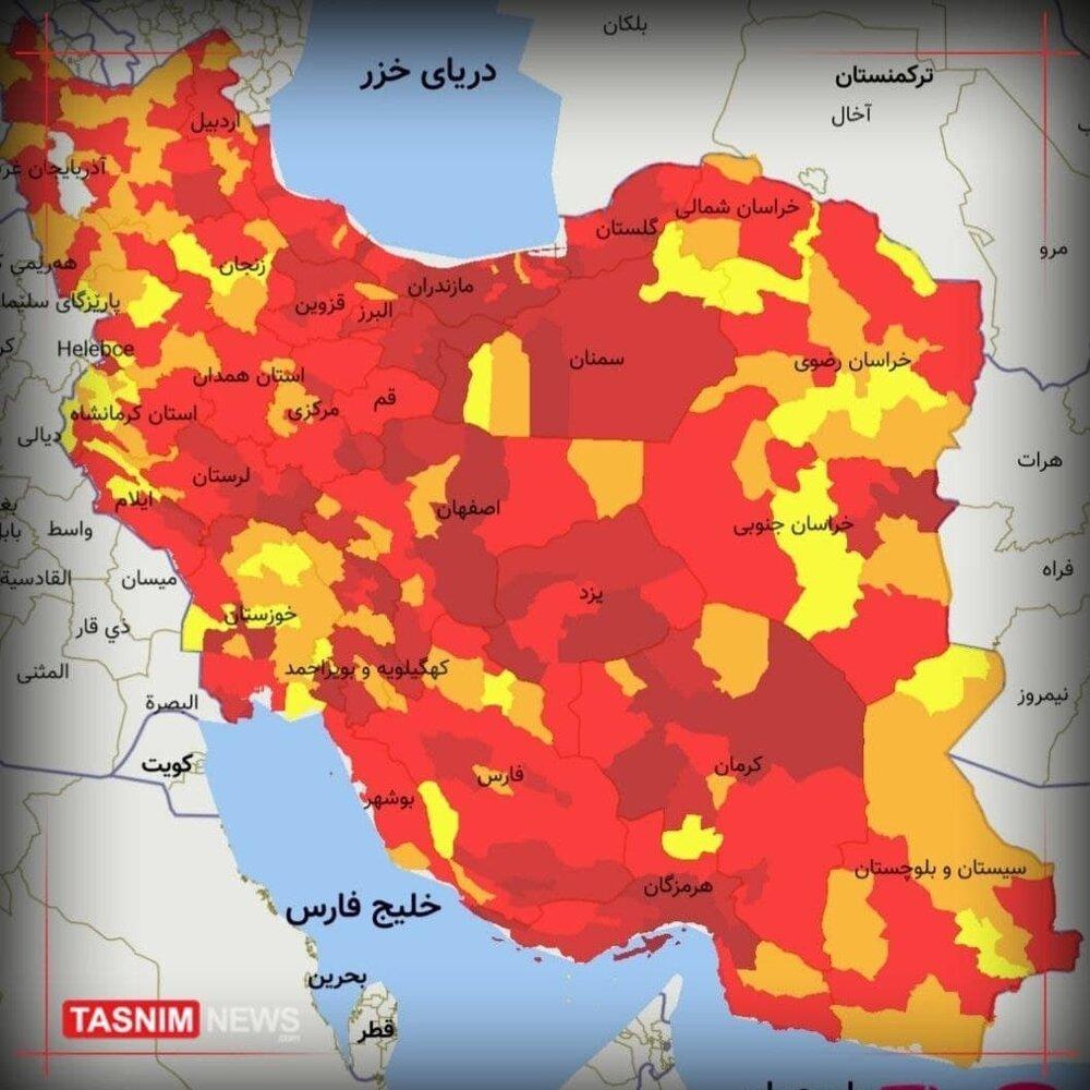 اولش بزن آخرین وضعیت کرونا در کشور / طغیان کرونا با گونه دلتا / ۲۸۵ شهر در وضعیت قرمز
