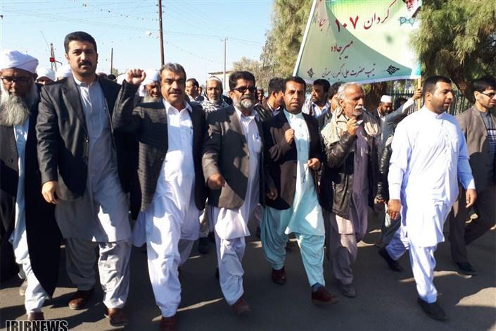 راهپیمایی مردم شیعه و سنی سیستان و بلوچستان با لبیک به ندای رهبر معظم انقلاب