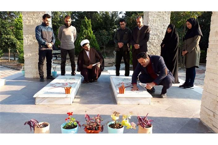 غبارروبی مزار شهدای گمنام دانشگاه آزاد اسلامی واحد رامسر به مناسبت هفته بسیج
