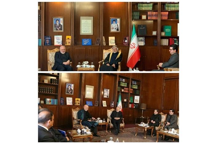 دیدار وزیر خارجه عمان و رئیس جمهور پیشین افغانستان با ظریف