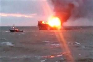 آتشسوزی در سکوی نفتی آذربایجان در دریای خزر