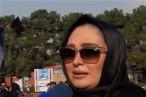 صحبت های الهام حمیدی در مراسم تشییع همسر شهید بابایی