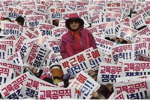 تظاهرات طرفداران رئیس جمهور کره جنوبی در سئول
