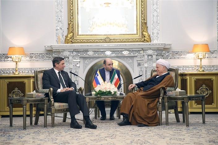 Hashemi Rafsanjani Meets With Slovenian President on International Ties