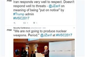 """نظر ظریف درباره """"پاسخ ایران به تهدیدات"""" در توییتر کنفرانس امنیتی مونیخ"""