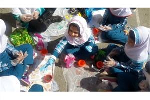کاشت گیاهان دارویی به جای سبزه عید در مدارس سما سنندج