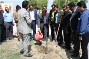 غرس دو نهال به نام شهدای گمنام دانشگاه آزاد اسلامی واحد کهنوج در اولین روز هفته منابع طبیعی