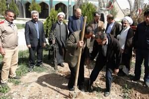 برگزاری آئین درختکاری با عنوان یاد سبز شهداء در واحد گرمسار