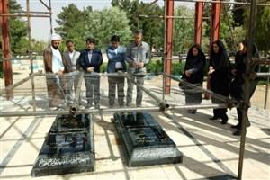غبار روبی و عطر افشانی گلزار شهدای گمنام شهرستان ایوان