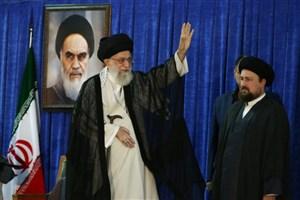 حضور رهبر معظم انقلاب در اجتماع عظیم مردم در حرم مطهر امام راحل/ عکس