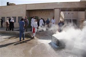 مانور اطفای حریق در بیمارستان دانشگاه آزاد اسلامی شاهرود