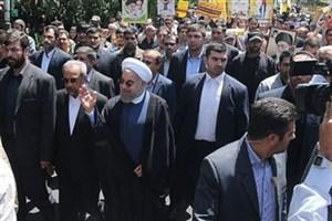 رئیس جمهوری به جمع راهپیمایان روز قدس پیوست