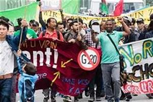 درگیری پلیس ومعترضان به نشست گروه بیست درهامبورگ آلمان