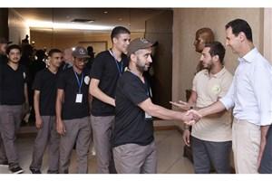 دیدار بشار اسد با دانشجویان شرکت کننده در دومین اردوی جوانان مقاوم عرب