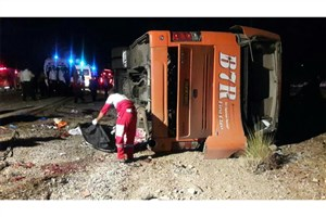 10 کشته و 35 مصدوم در حادثه واژگونی اتوبوس دانش آموزان هرمزگانی