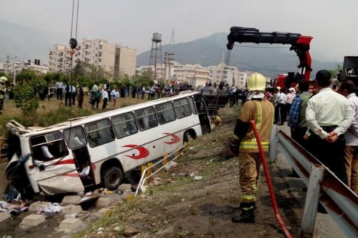 واژگونی اتوبوس هرمزگان دانش آموز