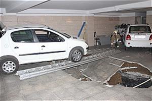 گودال پارکینگ ساختمان مسکونی خودرو 206 را بلعید