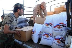 بسته کمکی بشردوستانه مسکو به حلب رسید