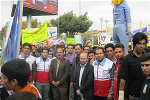 حضور گسترده دانشگاهیان واحد سراوان در راهپیمایی 13 آبان
