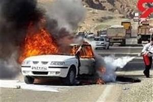 آتش گرفتن خودروی سمند در محور برزول - فارسبان نهاوند ۲ کشته برجای گذاشت
