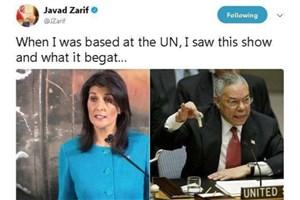واکنش ظریف به نمایش تبلیغاتی نماینده آمریکا در سازمان ملل
