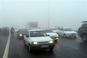 مه گرفتگی و کاهش دید درمحورهای استان اردبیل/ ترافیک در آزاد راه تهران- کرج