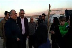 بازدید استاندار کرمانشاه از کمپ زلزله زدگان سرپلذهاب