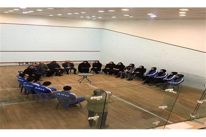 مدیرکل امور فرهنگی وزارت ورزش  در دیدار با ملی پوشان اسکواش ؛تیم محترمی دارید
