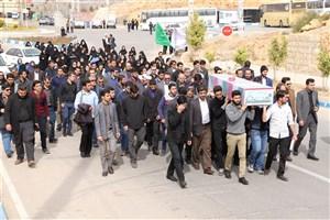 مراسم تشییع شهید گمنام بر دوش دانشگاهیان دانشگاه آزاد اسلامی واحد شیراز