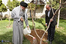 Ayatollah Khamenei Plants Saplings / In Photos