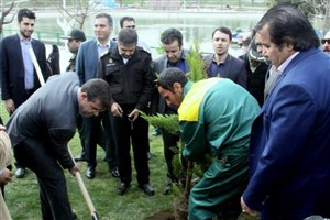 کاشت 3500 درخت به یاد شهدای منطقه 16/  300 لانه پرندگان در بوستان بعثت  نصب شد