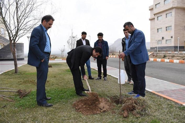کاشت نهال به مناسبت هفته منابع طبیعی و روز درختکاری توسط اعضای هیئت رئیسه، کارکنان و دانشجویان در محوطه دانشگاه آزاد اسلامی واحد بوکان