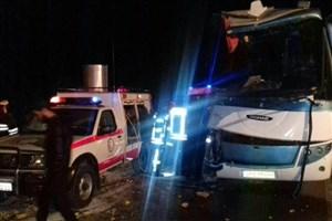 تصادف مرگبار تریلی و اتوبوس در سمنان