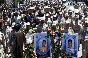 تشییع پیکر 2 شهید مرزبانی در سردشت