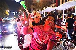 شادی مردم تهران در خیابان ها بعد از بازی ایران و اسپانیا