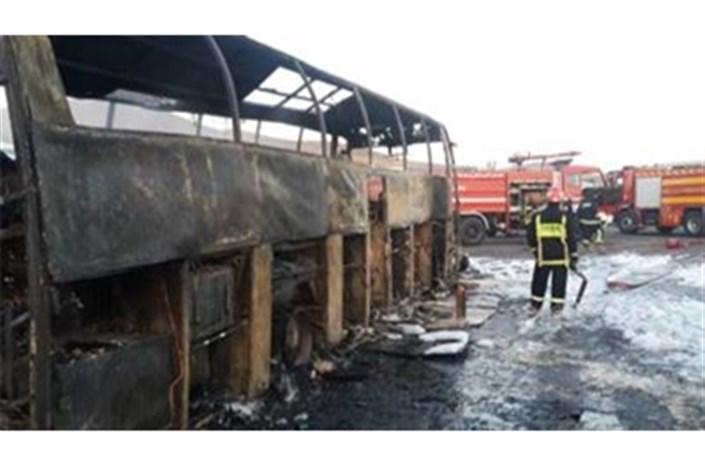 اتوبوس تهران مریوان آتش گرفت