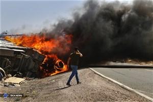 انفجار بر اثر تصادف دو تریلر حامل مواد شیمیایی  در جاده سبزوار + عکس