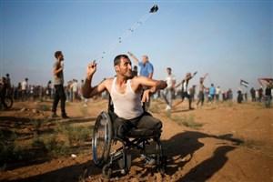 ایستادگی معلول فلسطینی تا پیروزی