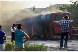 19 مسافر در تصادف و آتش گرفتن  اتوبوس تهران - کرمان سوختند/ مجروح شدن  5 نفر