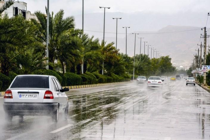 بارش باران در جاده ها