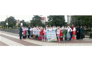 ورزش صبحگاهی دانش آموزان مدرسه ابتدایی دخترانه سبز سما لاهیجان