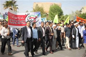 حضور گسترده استادان، کارکنان و دانشجویان واحد بندرعباس در راهپیمایی 13 آبان