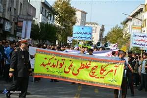 حضور دانشگاهیان دانشگاه آزاد بندرانزلی در راهپیمایی ۱۳ آبان + عکس