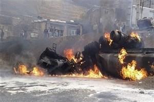 واژگونی تانکر حامل سوخت  در جاده یزد