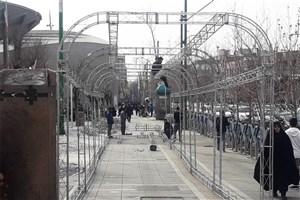 اجرای  150 متر تونل نوری در پیاده رو چهارراه ولی عصر مقابل تئاتر شهر
