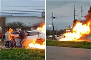 مردم راننده زن را از داخل خودروی در حال سوختن بیرون کشیدند