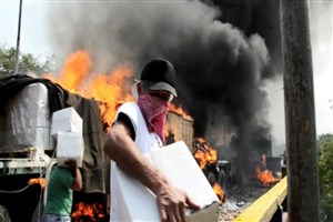 سوزاندن کمک های بشردوستانه توسط مخالفان دولت ونزوئلا