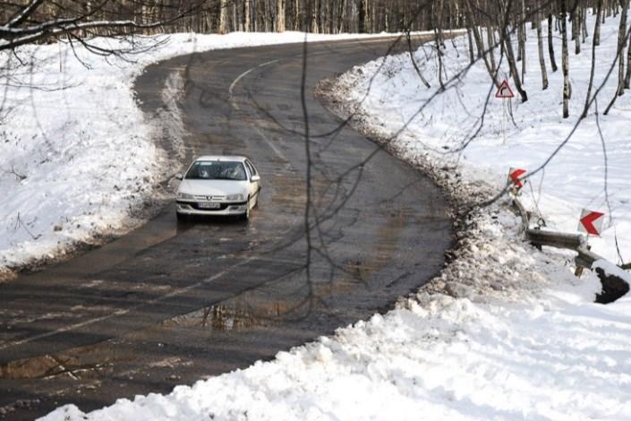 برف در جاده اسالم به خلخال