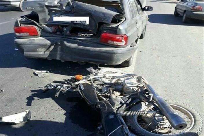 برخورد پراید با موتورسیکلت